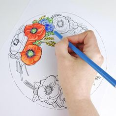 Items similar to Poppies Flower Coloring Page for Adults Flower Coloring Pages, Adult Coloring Pages, Printable Coloring Pages, Watercolor Tattoo, Poppies, Trending Outfits, Unique Jewelry, Handmade Gifts, Flowers