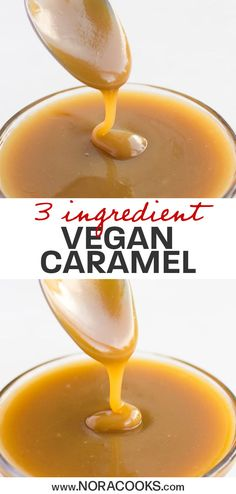 - You'll find so many uses for this Easy Vegan Caramel Sauce. It's made with only three ingredients and ready in just five minutes. This dairy free caramel sauce is a healthy topping you'll want to have on hand for all of your favorite vegan sweet treats. Vegan Sauces, Vegan Foods, Vegan Dishes, Paleo Diet, Vegan Dessert Recipes, Dairy Free Recipes, Cooking Recipes, Gluten Free, Vegan Recipes