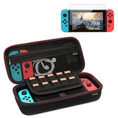 Neropoke Nintendo Switch Carrying Case with Premium Asahi Tempered Glass Screen Protector 20 Game Slot AC Wall Adapter Cable Console & Accessories Great for Travel (Black w/ Protector) Nintendo 3ds, Terri Lynn, Game Slot, Nintendo Switch Accessories, Xbox, Playstation Consoles, Video Game Reviews, Tempered Glass Screen Protector, Iphone