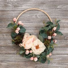 Make this easy DIY trendy Hoop Wreath Transitional Floral Arrangement in colors to coordinate with your home decor Easy Home Decor, Handmade Home Decor, Handmade Crafts, Diy Crafts For Adults, Diy Crafts To Sell, Tambour, Wooden Embroidery Hoops, Floral Hoops, Do It Yourself Crafts