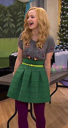 Liv's green skirt and grey floral beaded top on Liv and Maddie.  Outfit Details: http://wornontv.net/48073/ #LivandMaddie