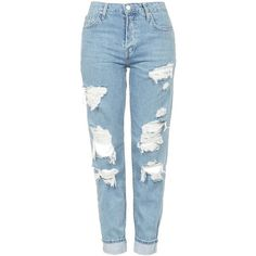 TopShop Moto Super Rip Hayden Jeans ($85) ❤ liked on Polyvore featuring jeans, pants, bottoms, calças, torn boyfriend jeans, low rise distressed boyfriend jeans, blue jeans, ripped boyfriend jeans and boyfriend jeans