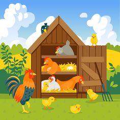 Henhouse with funny birds on a green lawn vector Farm Cartoon, Plant Icon, Crazy Toys, Cartoon Chicken, Chicken Painting, Animal Symbolism, Fun Crafts To Do, Free Motion Embroidery, Cartoon Background