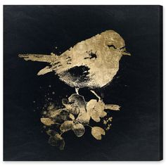 multiple sizes. Found it at AllModern - Gold Bird Painting Print on Wrapped Canvas