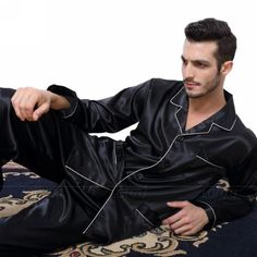 6bd696157f Mens Silk Satin Pajamas Pyjamas Set Sleepwear Set Loungewear U.S. S