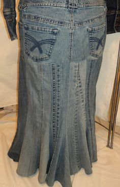 Recycled - Upcycled blue jeans to a beautiful Mermaid style skirt. $35.00, via Etsy.