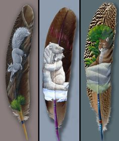 beautiful painted feathers