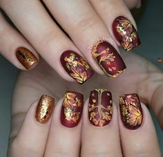 Prettiest Fall Nail Designs Worth Trying nails Great Nails, Perfect Nails, Cute Nails, Fall Nail Art Designs, Nail Polish Designs, Nail Stamping Designs, Hair And Nails, My Nails, Autumn Nails
