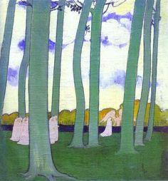 (Procession sous) Les arbres verts ou Les hêtres de Kerduel, Peinture de Maurice Denis