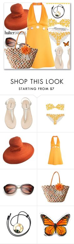 """""""Halter dresses"""" by jan31 ❤ liked on Polyvore featuring Marysia Swim, Paul Frank, Clover Canyon, Marni and Dot & Bo"""