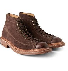 GrensonGus Triple-Welted Suede and Leather Boots