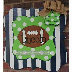 Personalized+Football+Baby+Door+Hanger/Sign+For+by+SparkledWhimsy,+$45.00