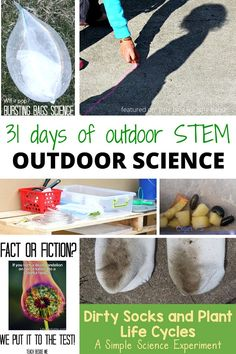 Outdoor STEM and outdoor science activities for summer activities backyard science camp - Fun for the neighborhood or your kids. Easy Science Experiments, Science Activities For Kids, Montessori Activities, Stem Activities, Summer Activities, Summer Camp Crafts, Summer Fun, Outdoor Classroom, Classroom Ideas