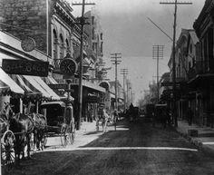 W. Commerce Street looking east from street outside Kampmann Building, ca. 1890 #SanAntonio