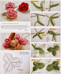 Croche & Cia da Cris: 30 Crochet flowers with graphics or Pap - Knitting New Poppy Crochet, Marque-pages Au Crochet, Crochet Leaves, Crochet Motifs, Irish Crochet, Crochet Crafts, Crochet Projects, Diy Crafts, Crochet Flower Tutorial