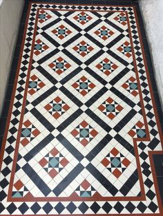 Victorian floor tiles and contemporary geometric ceramic tiles. Specialists in the design and supply of mosaic tile schemes. Victorian Hallway Tiles, Victorian Mosaic Tile, Tiled Hallway, Victorian Flooring, Hall Flooring, Porch Flooring, Hall Tiles, Porch Tile, Floor Patterns