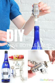 DIY wine bottle lamp: how to make a table lamp from a wine or liquor bottle. Use a keepsake bottle from a special event, your favorite brand of whiskey, or paint a plain bottle - a simple, custom lamp (Flaschenlampe Bottle Lights) Liquor Bottle Crafts, Wine Bottle Art, Liquor Bottles, Bottles And Jars, Liquor Bottle Lights, Glass Bottles, Diy Bottle Lamp, Bottle Chandelier, Whiskey Brands