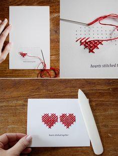 открытка с изображением вышитым крестиком, в один цвет, совсем просто