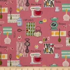 Retro Bake Spaced Pink from @fabricdotcom  Designed by The Henley Studio for Andover/Makower UK Fabrics, this cotton print fabric is perfect for quilting, apparel and home decor accents. Colors include light teal green, mango, charcoal, olive and cream on a rose pink background.