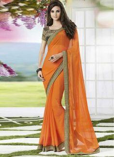 Lovely Orange Faux Georgette With Patch Border Work Saree http://www.angelnx.com/Sarees/Designer-Sarees