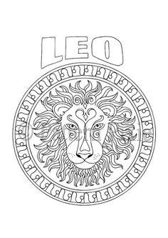 Adult Coloring Page Zodiac Leo por PatternPixie en Etsy