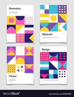 View top quality illustrations of Vintage Swiss Graphic Geometric Bauhaus Shapes Vector Posters In Minimal Modernism Style. Find premium, high-resolution illustrative art at Getty Images. Geometric Graphic Design, Geometric Poster, Graphic Design Posters, Geometric Art, Graphic Design Inspiration, Abstract Posters, Geometric Patterns, Design Typography, Branding Design