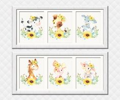 Farm Animals Nursery art prints girl room wall decor sunflowers decoration baby shower gift toddler Piglet Dog Horse Cow Sheep Kid prints Farm Animal Nursery, Nursery Art, Girl Nursery, Girl Room, Nursery Ideas, Room Ideas, Sunflower Nursery, Sunflower Room, Girls Room Wall Decor