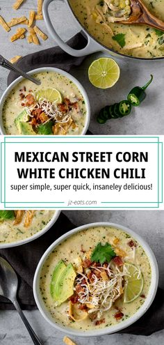 Mexican Street Corn White Chicken Chili is creamy, comforting, and always SO delicious! It's full of zesty flavors and easy to make. Easily your new go-to! It's a great alternative to traditional beef chili and makes a super satisfying lunch or dinner. Chili Recipes, Lunch Recipes, Seafood Recipes, Mexican Food Recipes, Soup Recipes, Chicken Recipes, Dinner Recipes, Chowder Recipes, Sweets Recipes