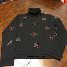 TALBOTS PETITES  CROP SWEATER  SIZE P New,cozy,cute turtleneck, black with multicolored  embellishments  100%cotton ,washible. Talbots Sweaters Cowl & Turtlenecks