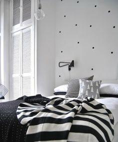 Black dots on bedroom wall polka dot wall decals, polka dot walls, polka do Monochrome Bedroom, Bedroom Black, Dream Bedroom, Home Decor Bedroom, Bedroom Ideas, Bedroom Art, Bedroom Designs, Master Bedroom, Estilo Interior