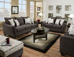 Our oversized Durable 3 Cushion Sofa features deep seats and adjustable back pillows, all covered in a soft but durable gray flannel fabric. Corresponding throw pillows are included. l FFO Home