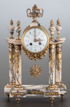 Decorative Arts, Continental:Other , A LOUIS XVI-STYLE MARBLE AND GILT METAL MOUNTED MANTLE CLO... Image #1