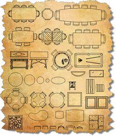 CAD Furniture Tables Architecture Symbols, House Architecture Styles, Concept Architecture, Drawing Interior, Interior Design Sketches, Sketch Design, Ceiling Plan, Sketches Tutorial, Cad Blocks