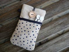 iPhone SE case cover, iPhone 6 Fabric Case, iPhone 5 Pouch, iPod Touch 6g case, iPhone 7 Plus sleeve, iPhone 7  Pouch, Blue dots pocket by DriSewing on Etsy