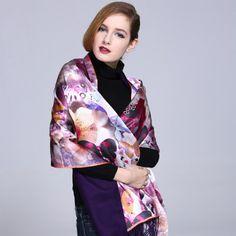 Purple Floral Print 100% Mulberry Silk Scarf