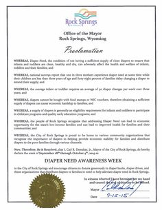 Rock Springs, WY - Mayoral proclamation recognizing Diaper Need Awareness Week (Sept. 28 - Oct. 4, 2015) #DiaperNeed www.diaperneed.org