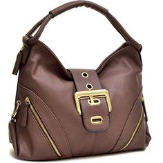 Dasein Brown Classic Fashion Hobo Shoulder Bag Handbag with Zippered Pockets #Dasein #ShoulderBag
