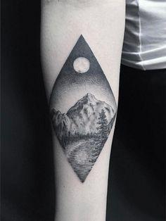 Single needle landscape tattoo by Asa Lee Crow IV Hand Tattoos, Dot Tattoos, Dot Work Tattoo, Forearm Tattoos, Small Tattoos, Tattoos For Guys, Tattoo Arm, Tatoos, Home Tattoo