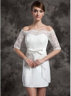 Sheath/Column Off-the-Shoulder Short/Mini Satin Wedding Dress With Lace (002015014)