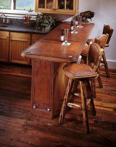 bar kitchen, tooled leather-SR