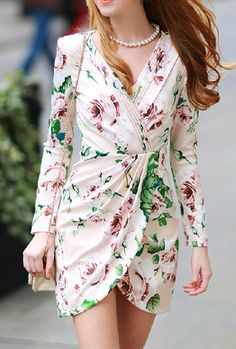 PLEATED WRAP FRONT ROSE PRINT DRESS | The Style Mob