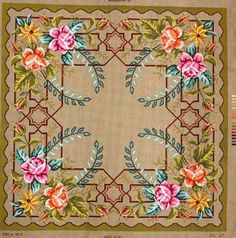 FLORAL AREA RUG NEEDLEPOINT CANVAS DESIGN::RUGS, PILLOWS, & TABLE TOPPERS::Needlepoint Canvases-Printed::Jackie's NeedleArt Mania - Discount Needlepoint Products and More: Crewel Embroidery, Counted Cross Stitch, Stamped Embroidery