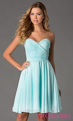 Short Strapless Sweetheart Mori Lee Dress at PromGirl.com I want!!! I love the length of it! Simple but gorgeous!