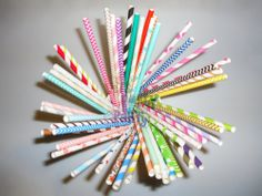 Paper Straws (Checkers, Chevrons, Circles, Damasks, Dots, Harlequins, Hearts, Solids, Starts, Stripes, Miscellaneous) available in colors: Pink, Red, Orange, Yellow, Green, Aqua, Blue, Purple, Grey, Black, Gold and Silver. 25pcs per OPP bag. Includes Free Shipping. $219.6 per lot