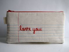 Notebook Paper Fabric Pencil Case Pencil Pouch by printsnpatterns, $25.00