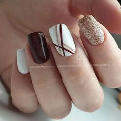 Bridal Nail Art Designs for Women in 2020 - Bridal Nail Art Designs f. Bridal Nail Art Designs for Women in 2020 - Bridal Nail Art Designs for Women in 2020 - Square Nail Designs, Fall Nail Designs, Cute Nail Designs, Shellac Nail Designs, Brown Nail Designs, Burgundy Nail Designs, Burgundy Nail Art, Red And White Nails, Neutral Nail Designs