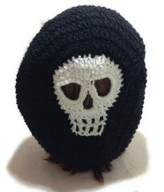 Crochet Skull Snood Tam Hat in Black and White by AddSomeStitches, $26.00