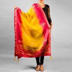 Yellow and Pink Chanderi Khadi Printed Border Butta Dupatta