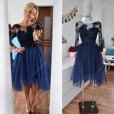 145.00$ Buy now - http://vibht.justgood.pw/vig/item.php?t=hnxofhb53373 - Illusion Applqiue Bodice Tulle Short Cocktail Dress With Long Sleeve
