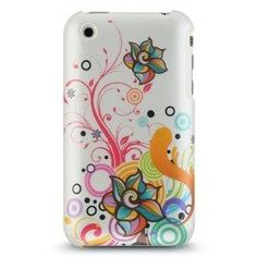 Premium Hard Crystal Plastic Snap-on Case for Apple iPhone 3G, 3GS 3G-S - Pearl White Autumn Floral
